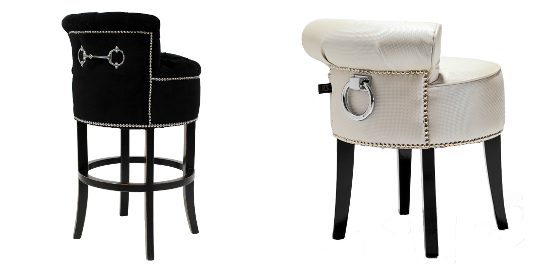 White pearl stool black bar stool from Black Orchid Interiors
