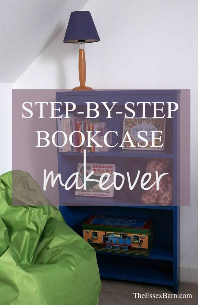 Step-by-step bookcase makeover pinnable image