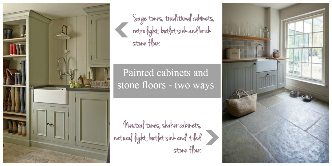 Painted cabinets and stone floors - two ways
