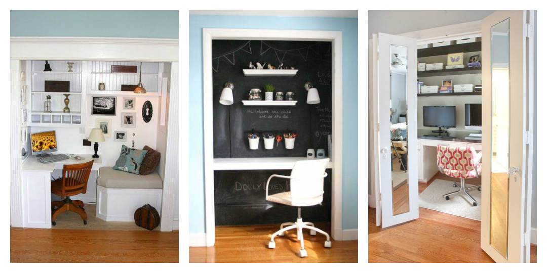Home office in a closet - TheEssexBarn.com