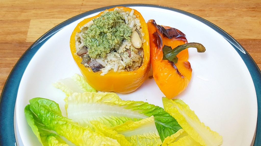 Pesto rice stuffed peppers